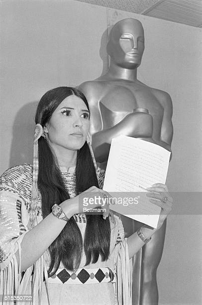 Apache activist Sacheen Littlefeather speaks after rejecting the Academy Award in place of Best Actor winner Marlon Brando