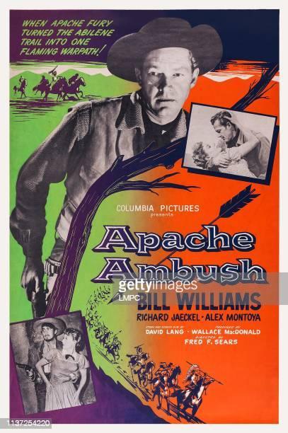 Apache Ambush poster US poster art top Bill Williams top right inset Adelle August Bill Williams bottle left inset Alex Montoya Adelle August 1955