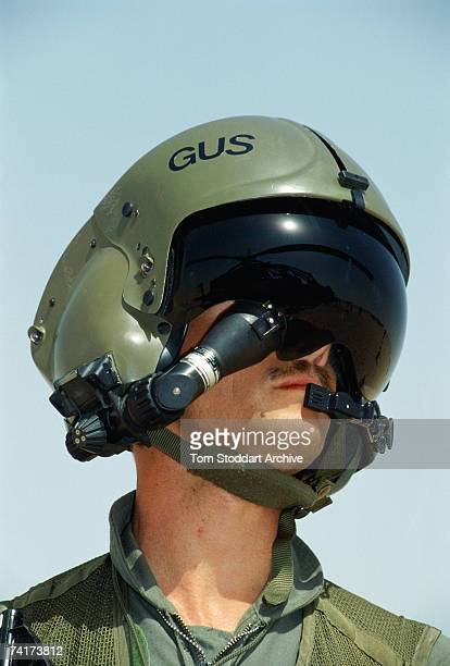 US Apache attack helicopter pilot Gus Grissom in the Saudi desert before the allied intervention in Kuwait during the Persian Gulf War December 1990...