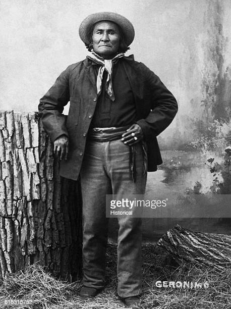 The Apache chief Geronimo poses for a portrait not long after his final capture and placement at Fort Sill Oklahoma in 1886 Geronimo's life was spent...