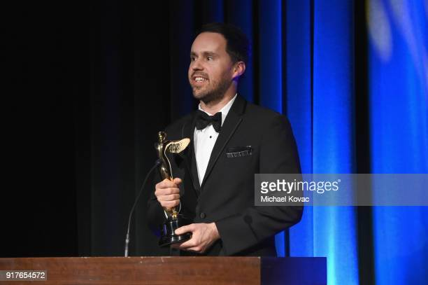 Apache Color's Shane Reed accepts the Lumiere Award for Best Use of HDR in a Television Program onstage at the Advanced Imaging Society 2018 Lumiere...