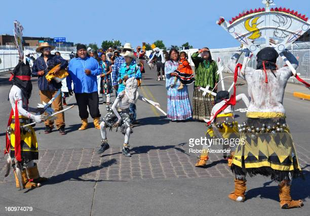 Apache crown dancers perform in the annual InterTribal Indian Ceremonial parade in downtown Gallup New Mexico 5104602RA_Gallup09jpg