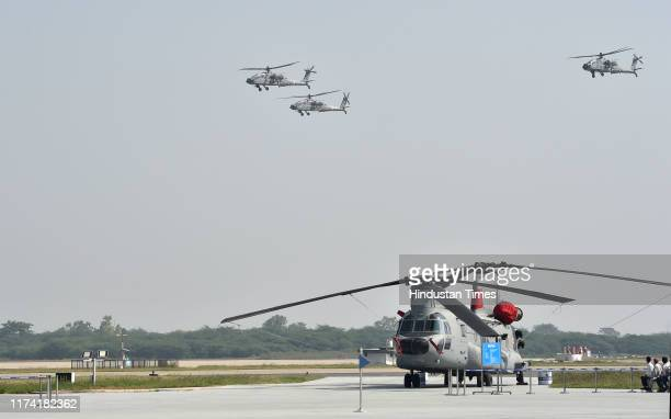 Apache helicopters during the full dress rehearsal ahead of the 87th Air Force Day at The Air Force Station at Hindon, on October 6, 2019 in...