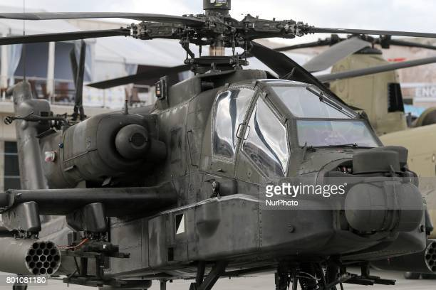 Apache Longbow helicopter on the tarmac on the last day of the International Paris Air Show at Le Bourget Airport near Paris on June 25 2017 This...