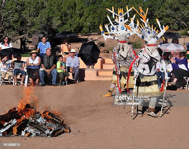 Apache Mountain Spirit Dancers from the White Mountain Reservation in Arizona perform at a Gan ceremony near Santa Fe New Mexico Often called Crown...