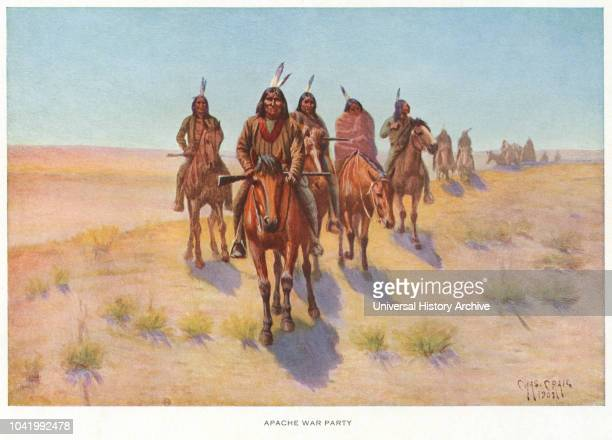 Apache War Party, Lithograph, Charles Craig, 1903.