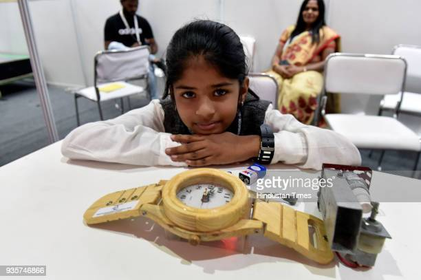Aparna Chandrasekar from Chennai Tamil Nadu shows a Watch with pungent spray for bullies during the Innovation and Entrepreneurship at President...