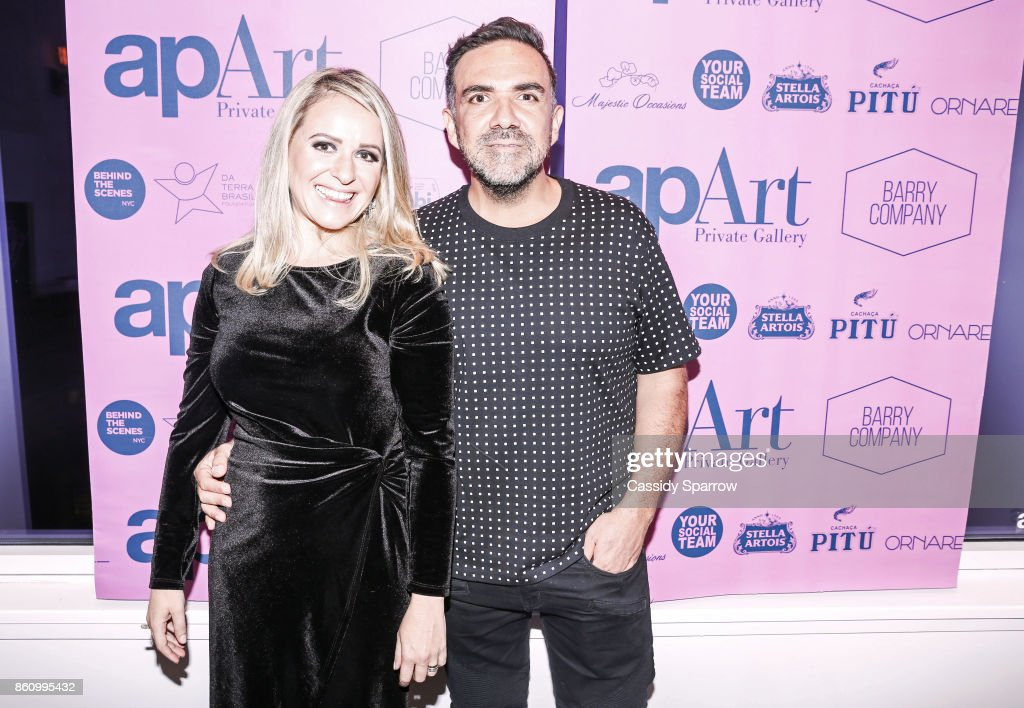 apArt Co-Founder Thais Marin and Founder of apArt Private Gallery Leo Macias attend 'Terebintina' Exhibition Opening at Private Residence on October 5, 2017 in New York City.