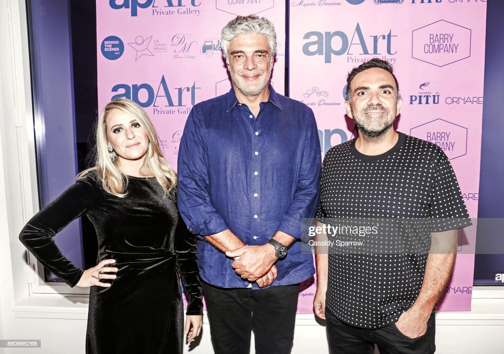 apArt Co-Founder Thais Marin, Marcello Serpa and Founder of apArt Private Gallery Leo Macias attends 'Terebintina' Exhibition Opening at Private Residence on October 5, 2017 in New York City.