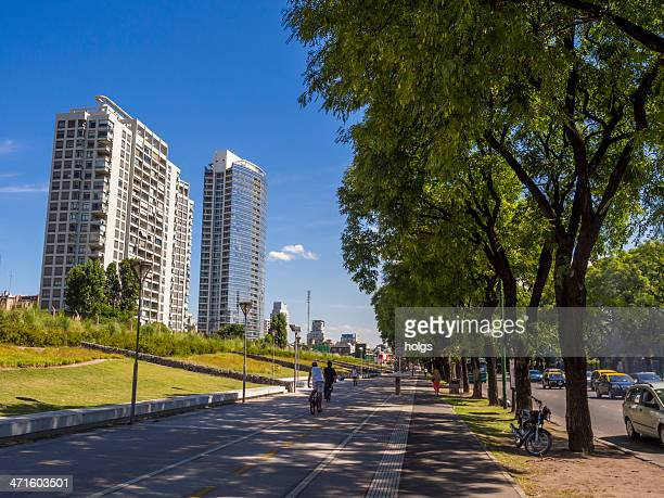 apartment blocks and bicycle lane in palermo buenos aires, argentina - palermo buenos aires stock photos and pictures
