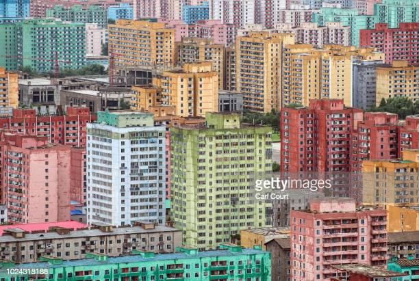 Apartment blocks are pictured from the viewing platform of the Juche Tower on August 24 2018 in Pyongyang North Korea Despite ongoing international...