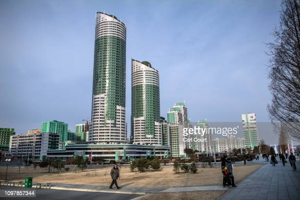 Apartment blocks loom over Ryomyong Street a newlybuilt housing area on February 08 2019 in Pyongyang North Korea US President Donald Trump and North...