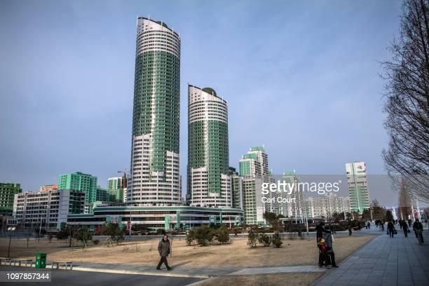 Apartment blocks loom over Ryomyong Street, a newly-built housing area, on February 08, 2019 in Pyongyang, North Korea. U.S President Donald Trump...