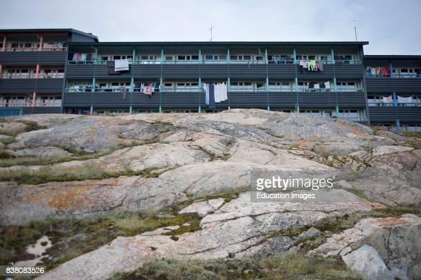 Apartment blocks on top of rock in Ilulissat Greenland