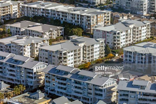apartment blocks, residential buildings, suburb, aerial photography sydney australia - housing difficulties stock pictures, royalty-free photos & images