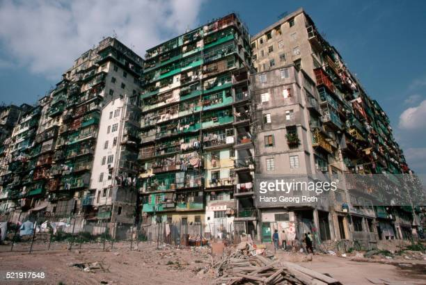 apartment building, kowloon - slum stock pictures, royalty-free photos & images