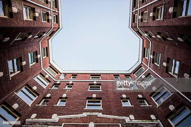 Apartment building, low angle view