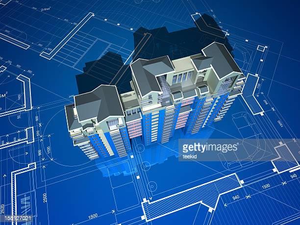 Apartment-Gebäude auf Bau