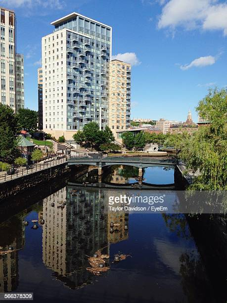 Apartment Building Reflection On River Canal