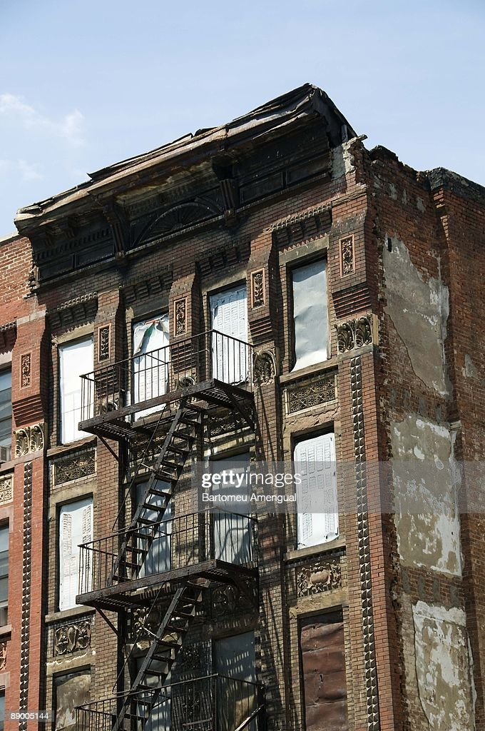 Apartment Building With Fire Escape Ladders New York City Stock Photo
