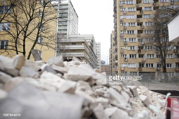 Apartment buildings are seen in the Wola district of Warsaw Poland on February 11 2019 The Wola district was heavily damaged during the second World...