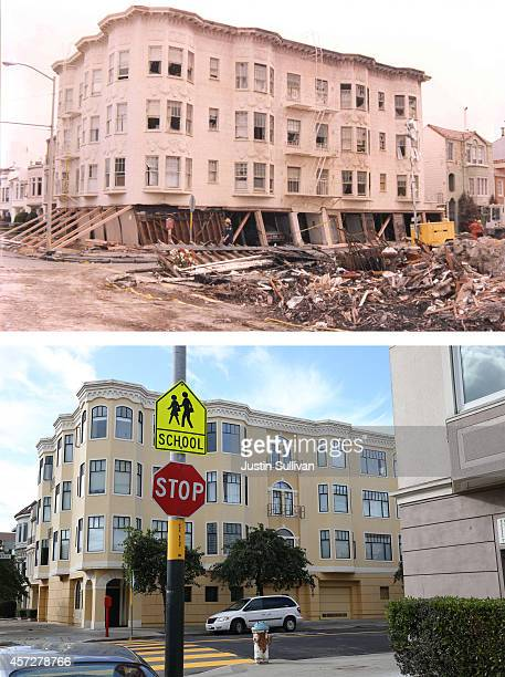 Apartment buildings built after the 1989 Loma Prieta earthquake stand on the corner of Beach and Divisadero on October 15, 2014 in San Francisco,...