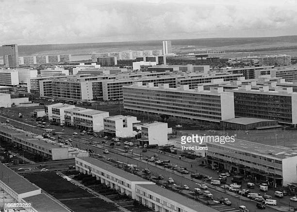 Apartment buildings in Brasilia Brazil circa 1965