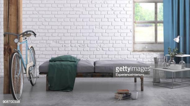 Plantilla de pared en blanco interior de apartamento