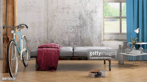 apartment interior blank wall template - loft stock photos and pictures