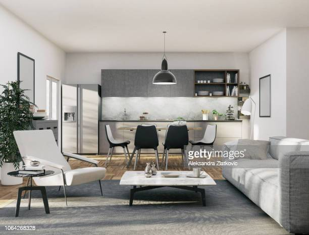 apartment - kitchen and living area - flat stock pictures, royalty-free photos & images
