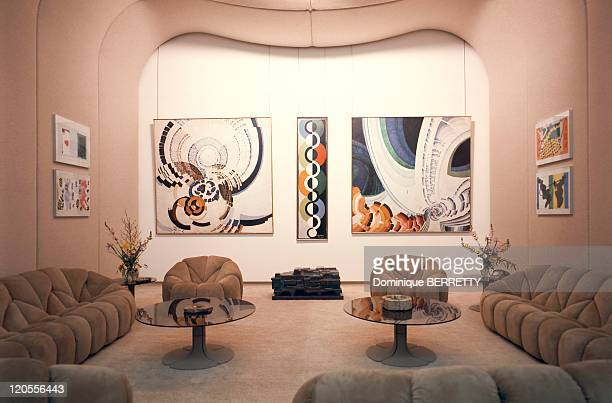 Apartment Of Pompidou At Elysee In Paris France Overview of the exhibition which displays modern paintings illuminated by spotlights hidden in the...