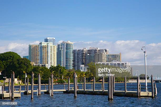 apartment towers and biscayne bay, miami - miami dade county stock photos and pictures