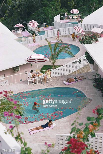 Apartments and pools at the La Concha Beach Club in Las Brisas resort in Acapulco Mexico January 1968