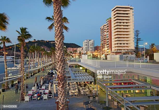 Apartments, cafes and marina at Malaga
