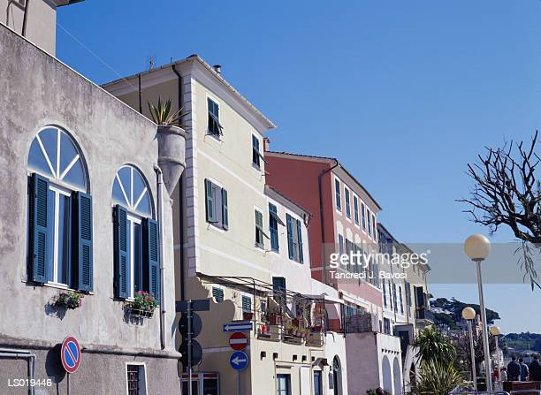 apartments in liguria, italy - bavosi stock photos and pictures