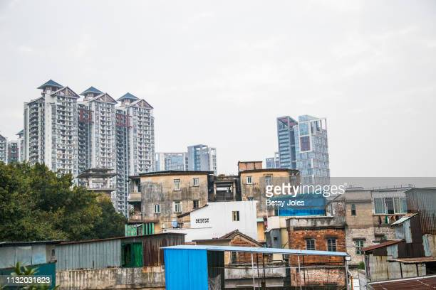 Apartments in the western outskirts of a neighborhood where a group of Somali refugees live to afford housing costs on February 3, 2019 in Guangzhou,...