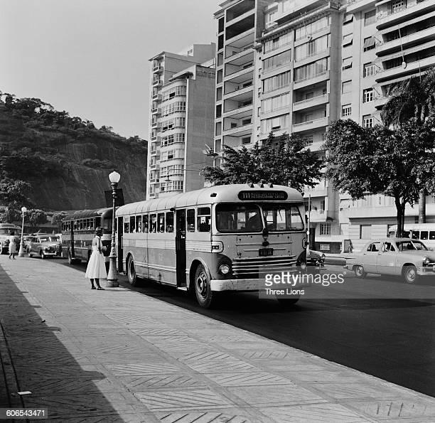Apartments on the seafront at Copacabana Beach, in the Copacabana bairro of Rio de Janeiro, Brazil, circa 1955.
