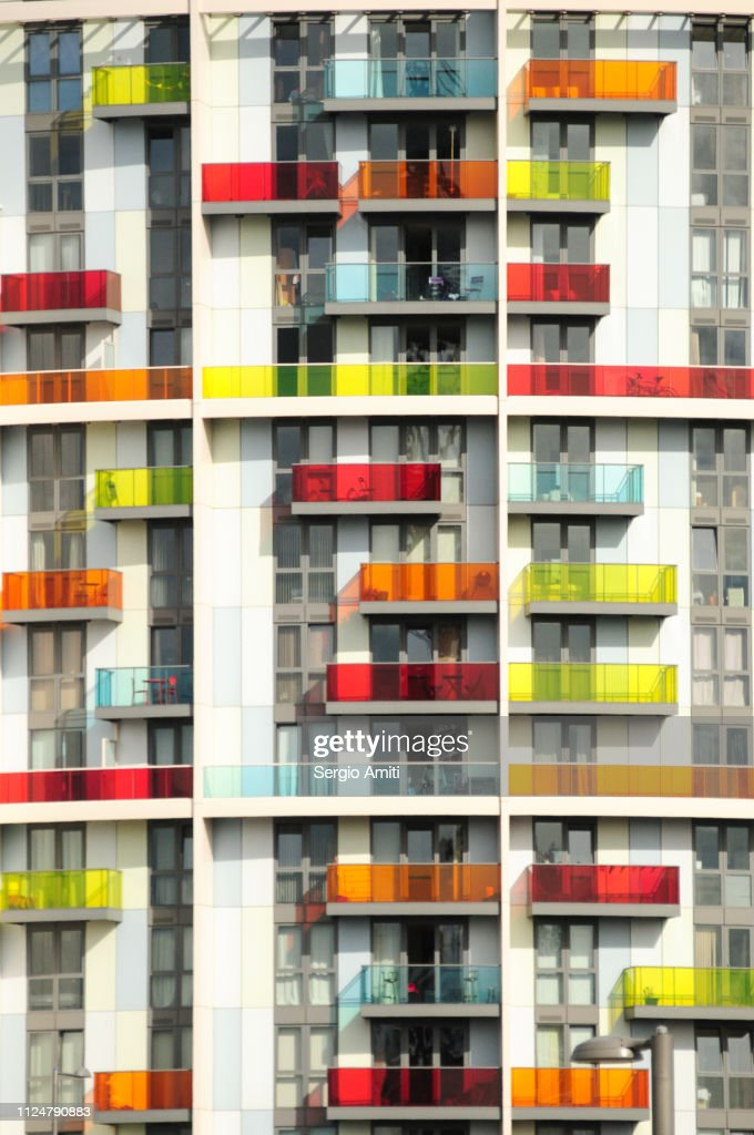 Apartments with colourful balconies : Stock Photo