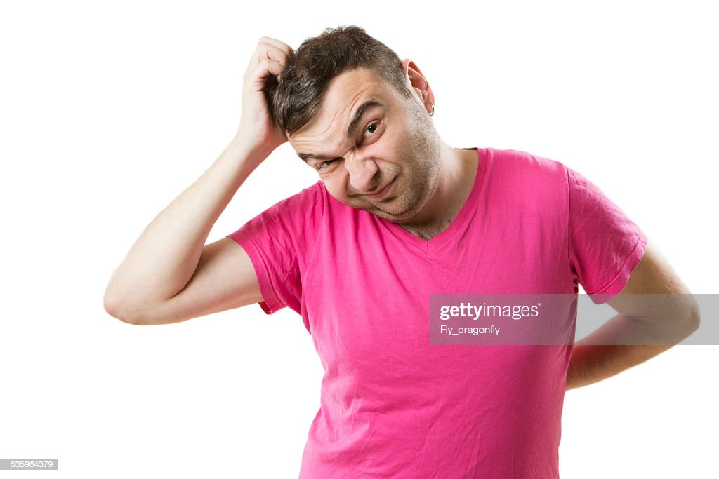 Ape guy at a loss : Stock Photo