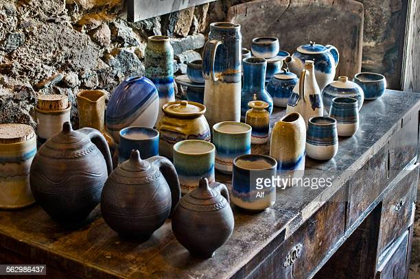 apeiranthos pottery - classic greek pottery stock photos and pictures