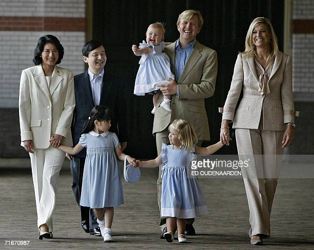 Apeldoorn, NETHERLANDS: Japanese crown prince family and the Dutch royal family Princess Masako, Prince Naruhito, Princess Aiko, Princess Alexia,...