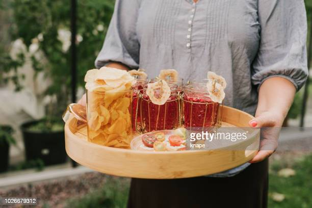 aperitif red drink with dried apple - aperitif stock photos and pictures