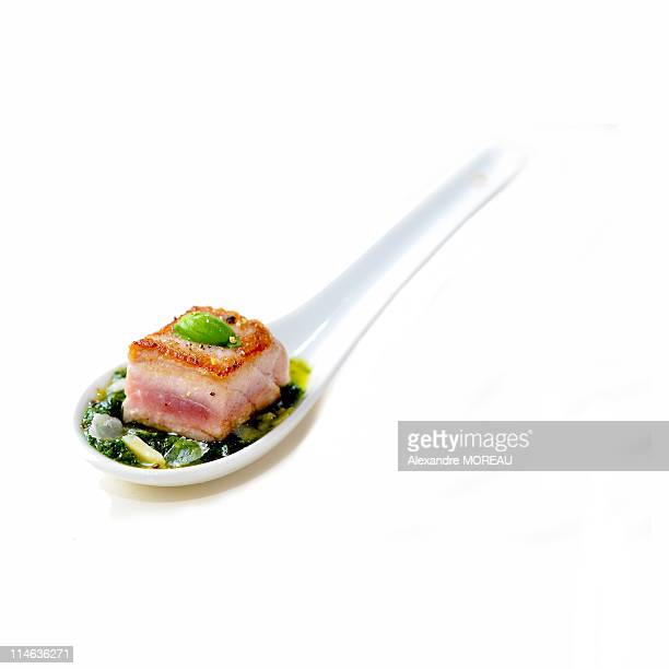 Aperitif  trio food mix in  designer white spoon