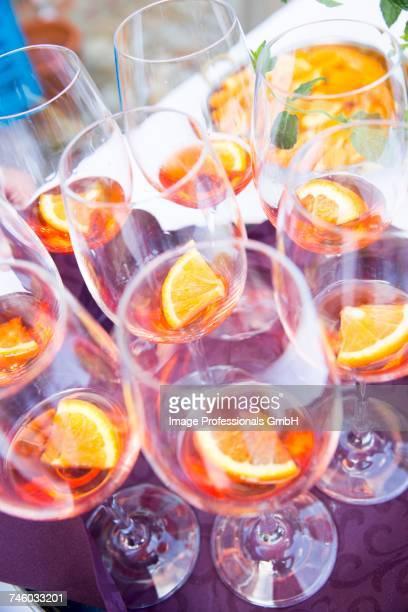 Aperol in wine glasses