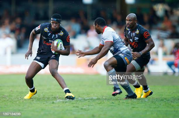 Aphelele Fassi of the Cell C Sharks during the Super Rugby match between Cell C Sharks and DHL Stormers at Jonsson Kings Park on March 14, 2020 in...