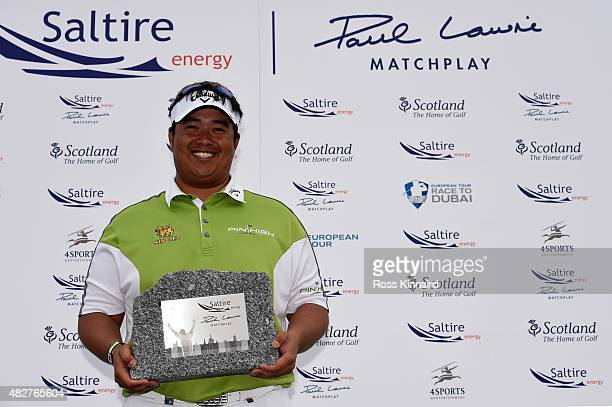 Aphibarnrat of Thailand with the winners trophy after his match against Robert Karlsson of Sweden in the final of the Saltire Energy Paul Lawrie...