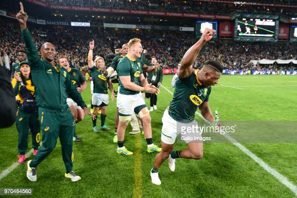 Aphiwe Dyantyi for the Springboks celebrates during the 2018 Castle Lager Incoming Series match between South Africa and England at Emirates Airline...