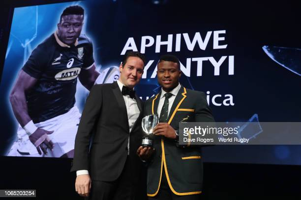 Aphiwe Dyantyi of South Africa receives the World Rugby via Getty Images Breakthrough Player of the Year in association with Tudor from Roland...