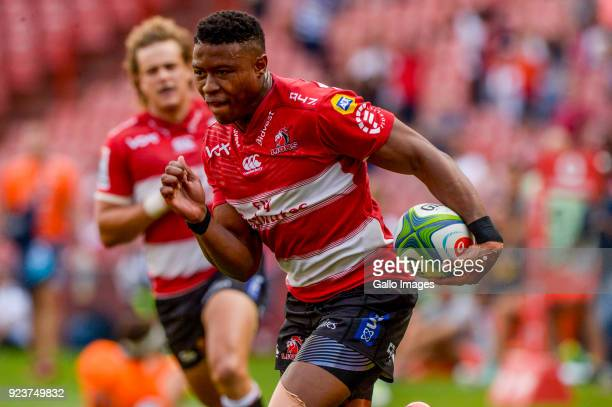 Aphiwe Dyantyi of the Lions with possession during the Super Rugby match between Emirates Lions and Jaguares at Emirates Airline Park on February 24...