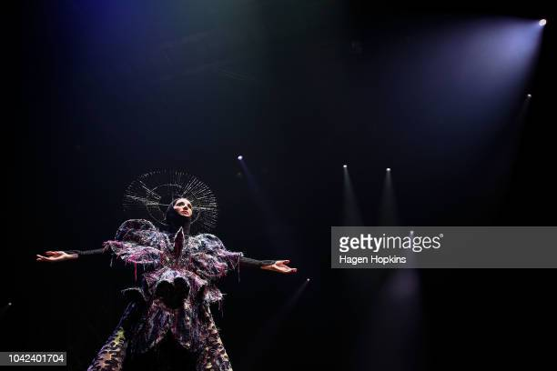 'Aphrodite of Anthropocene' by Yiyu Chen of Taiwan is modelled in the Avantgarde Section during the World of WearableArt Awards 2018 at TSB Bank...